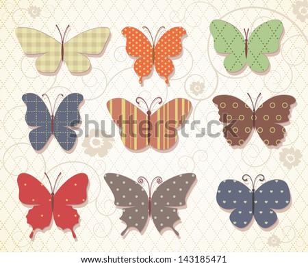 Set of butterflies for design. Eps 10 vector vintage patterns. - stock vector