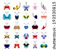 Set of butterflies from watercolor blots. Bright watercolor butterflies isolated on white background. Abstract hand-drawn design elements. - stock photo