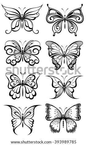 Set of butterflies silhouettes