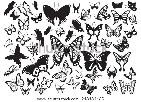 set of butterflies silhouettes in vector format very easy to edit - stock vector