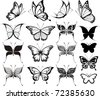 set of butterflies silhouettes isolated on white background in vector format very easy to edit, individual objects - stock photo