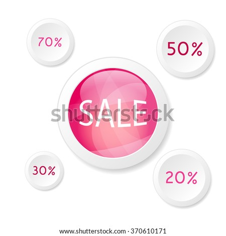 set of buttons discount - stock vector