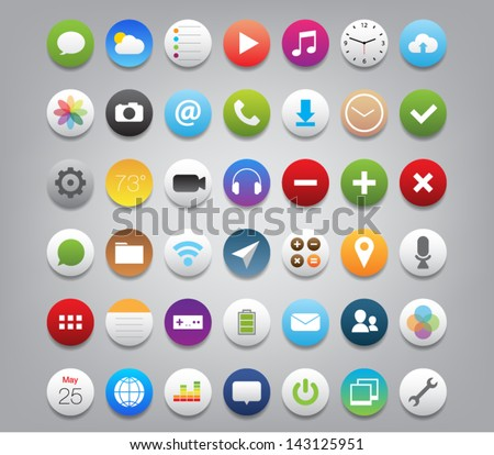 Set of buttons icons for (UI) applications or (app) for smartphones and tablets. Settings, music, media, map, photo, games, mail, clock, note, wifi, download, pictures, chat, camera, message, calendar - stock vector