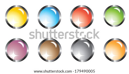 Set of buttons on a white background - stock vector