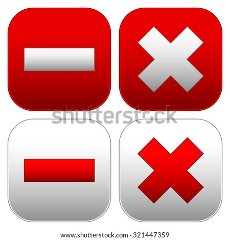 Set of buttons with cross and minus signs. Delete, remove, close, exit buttons, icons. - stock vector