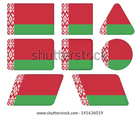set of buttons with flag of Belarus - stock vector