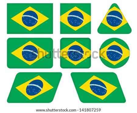set of buttons with flag of Brazil - stock vector