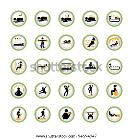 Set of buttons with signs for Spa, Wellness and Fitness - stock vector