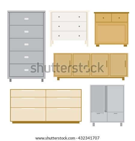 Set Cabinet Wood Furniture Style Isolated Stock Vector 432341707 ...