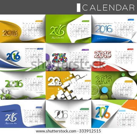 Set of 2016 calendar design. - stock vector