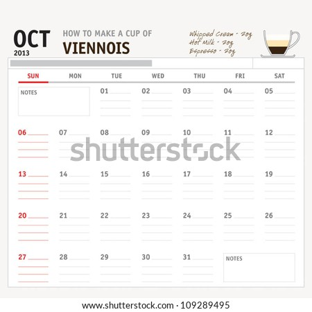 Set of calendar with espresso and coffee design for year 2013 - stock vector