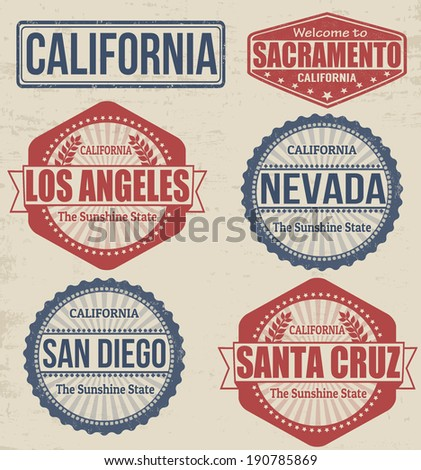 Set of California cities stamps on vintage background, vector illustration