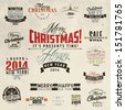 Set of calligraphic and typographic christmas elements, frames, vintage labels and borders