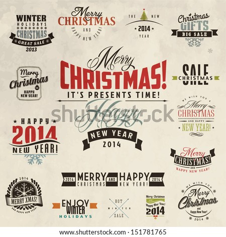 Set of calligraphic and typographic christmas elements, frames, vintage labels and borders - stock vector