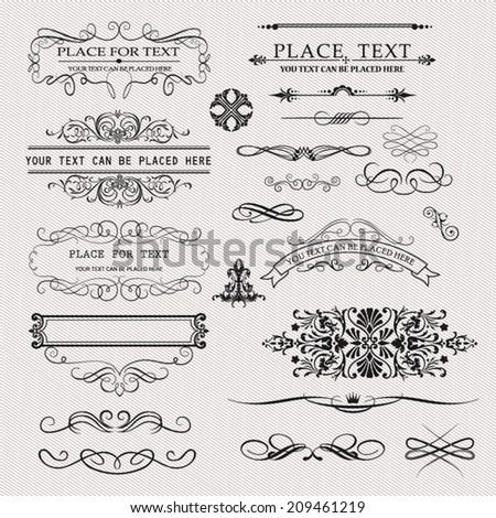 Set of Calligraphic Design Element Vector - stock vector