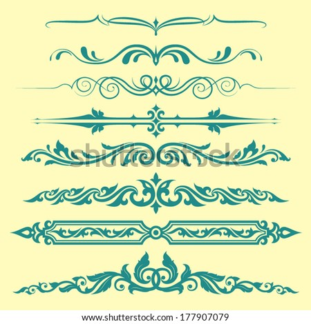 set of calligraphic design elements and page decoration, useful elements to embellish your layout  - stock vector