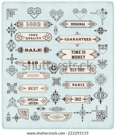 Set of calligraphic design elements: Labels, banners, baroque frames and floral ornaments collection - stock vector
