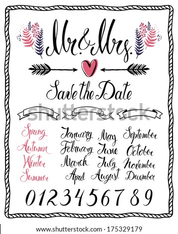 Set of Calligraphic design elements, Mr & Mrs, months, numbers and seasons - stock vector