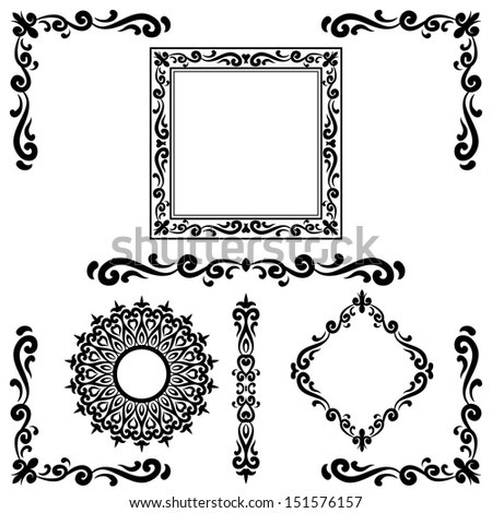 Set Of Calligraphic Elements For Design Corners Borders Frames