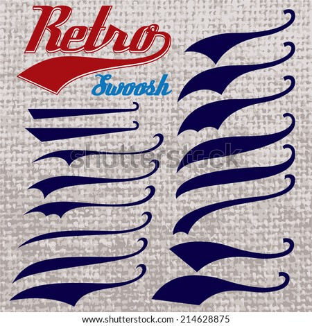 set of calligraphic elements for design inscriptions in retro style - stock vector