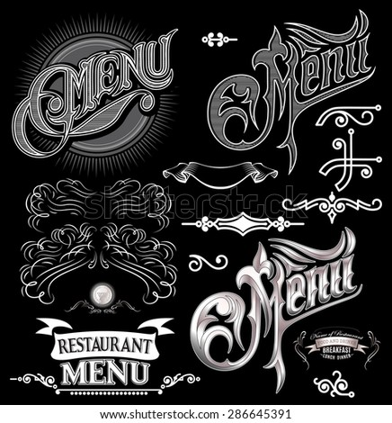 set of calligraphic elements for design label menu - stock vector