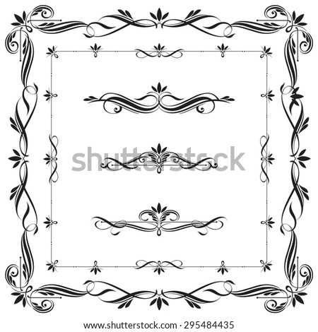 Set of Calligraphic frames and elements. This image is a vector illustration. - stock vector