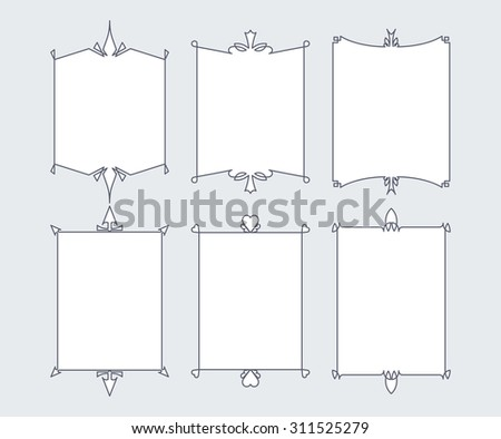 Set of 6 calligraphic frames with full editable fill colors and stroke weight - stock vector