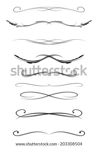 Set Calligraphic Lines Dividers Vector Illustration Stock
