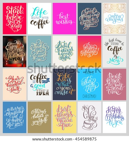 set of calligraphy posters with hand lettering motivational and congratulation phrase for print or web, typography collection vector illustration