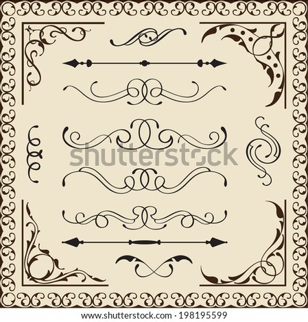 Set of calligraphy vintage elements - stock vector