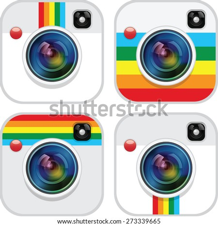 Set of camera apps icon - stock vector