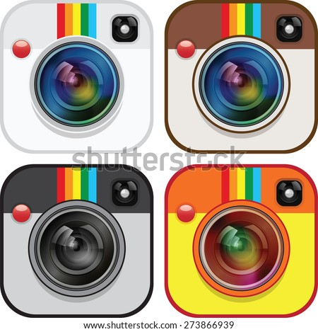 Set of camera apps icons - stock vector