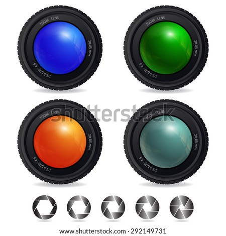 Set of Camera Lens with abstract Shutter Apertures. Vector design. - stock vector