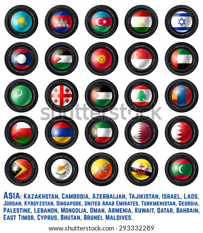Set of Camera Lens with Asia Flag. Part Two. Vector design. - stock vector