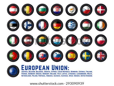 Set of Camera Lens with European Union Flags. Vector design. - stock vector