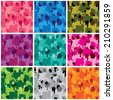 Set of camouflage fabric patterns - different colors. Seamless backgrounds in grunge style. Ready to use as swatch.  - stock