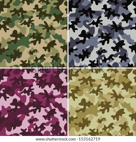 Set of 4 camouflage seamless patterns. Can be used for wallpaper, pattern fills, web page background, surface textures. - stock vector