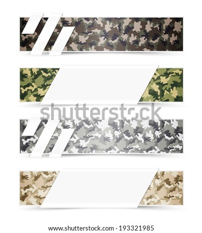 Set of Camouflage Web Banners with White Space - stock vector