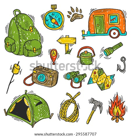 Set Of Camping Gear Elements Flashlight Marshmallow Trailer Camera Map