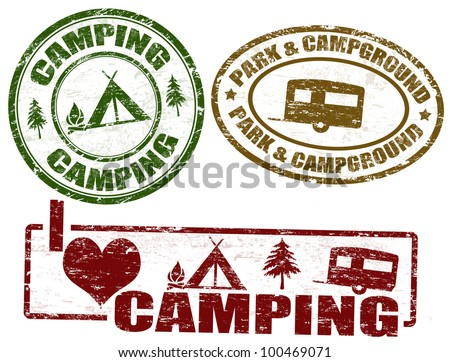Set of camping grunge stamps, vector illustration - stock vector