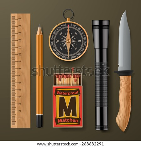 Set of camping hiking equipment, vector illustration.  - stock vector