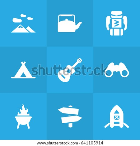 Collection Of Landscape  Acoustic Tent Elements.  sc 1 st  Shutterstock & Set 9 Camping Icons Setcollection Landscape Stock Vector 641105914 ...