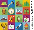 Set of camping outdoor icons in flat design with long shadows - stock vector