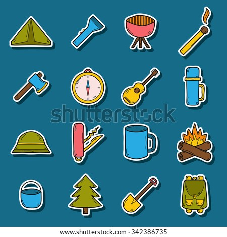 Set of camping stickers in hand drawn style: tent, flashlight, match, compass, thermos. Expedition concept - stock vector