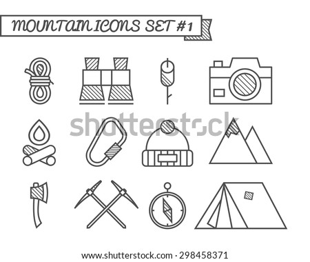 Set of Camping, travel icons, thin line style, flat design. Mountain and climbing theme with touristic tent,  axe and other equipment and elements. Isolated on white background. Vector illustration - stock vector