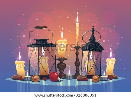 Set of candles and lanterns. Christmas greeting card \ background \ poster. Vector illustration. - stock vector
