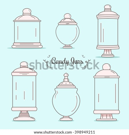 Set of candy jars - stock vector