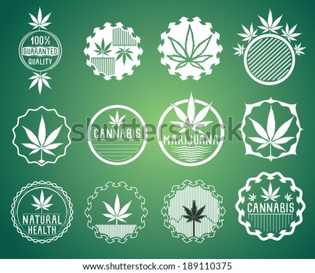 Set of cannabis and marijuana product symbol stamps vector - stock vector