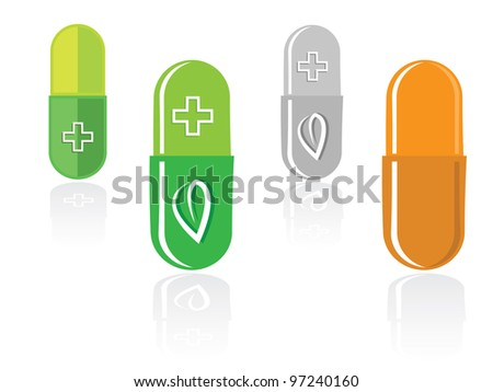Set of capsules with green leaf isolated on white, vector illustration. - stock vector