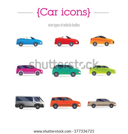 set of car bodies. Includes convertible, sedan, minivan, station wagon, and others. performed flat. Background green. - stock vector